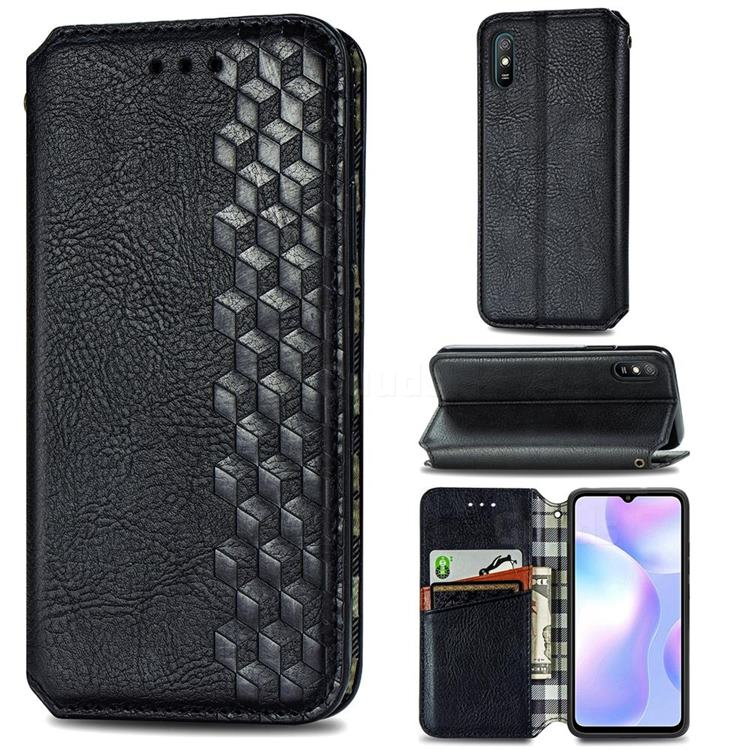Ultra Slim Fashion Business Card Magnetic Automatic Suction Leather Flip Cover for Xiaomi Redmi 9A - Black