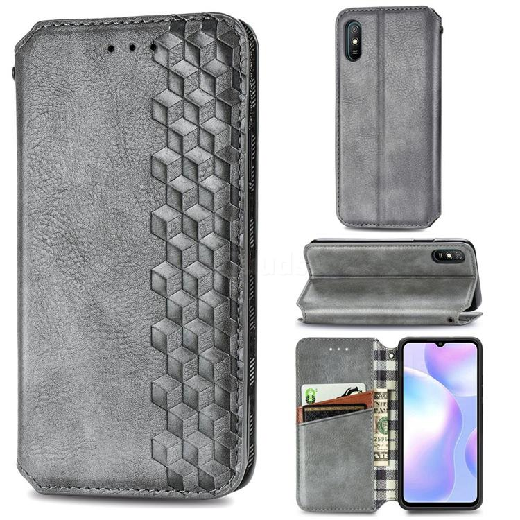 Ultra Slim Fashion Business Card Magnetic Automatic Suction Leather Flip Cover for Xiaomi Redmi 9A - Grey