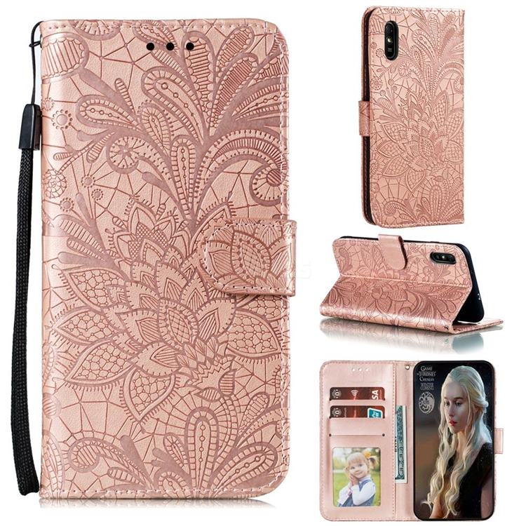 Intricate Embossing Lace Jasmine Flower Leather Wallet Case for Xiaomi Redmi 9A - Rose Gold