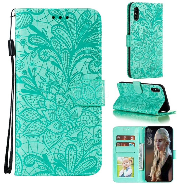 Intricate Embossing Lace Jasmine Flower Leather Wallet Case for Xiaomi Redmi 9A - Green