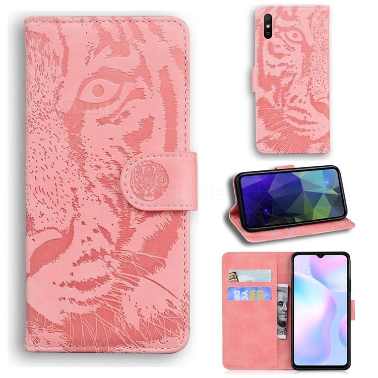 Intricate Embossing Tiger Face Leather Wallet Case for Xiaomi Redmi 9A - Pink