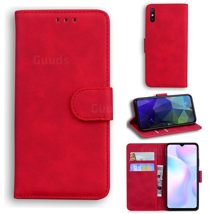 Retro Classic Skin Feel Leather Wallet Phone Case for Xiaomi Redmi 9A - Red