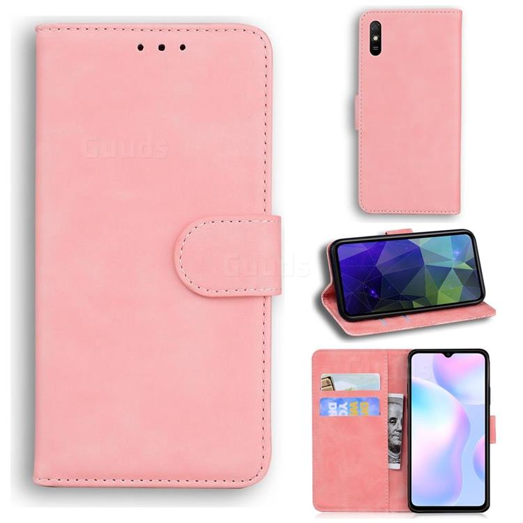 Retro Classic Skin Feel Leather Wallet Phone Case for Xiaomi Redmi 9A - Pink