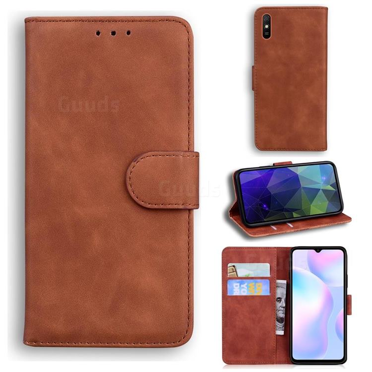 Retro Classic Skin Feel Leather Wallet Phone Case for Xiaomi Redmi 9A - Brown