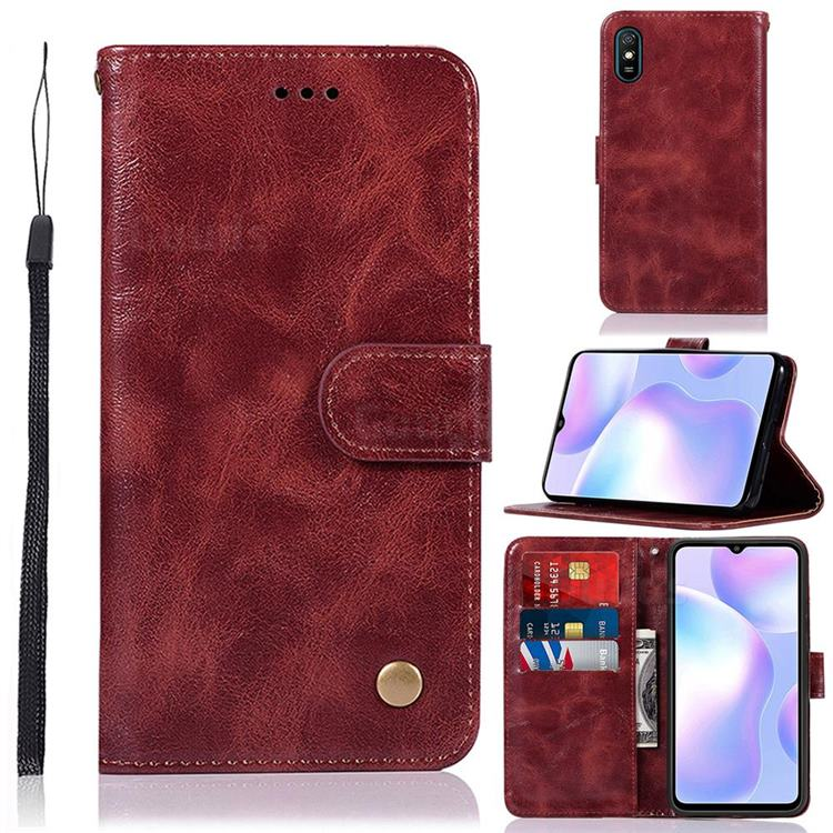 Luxury Retro Leather Wallet Case for Xiaomi Redmi 9A - Wine Red