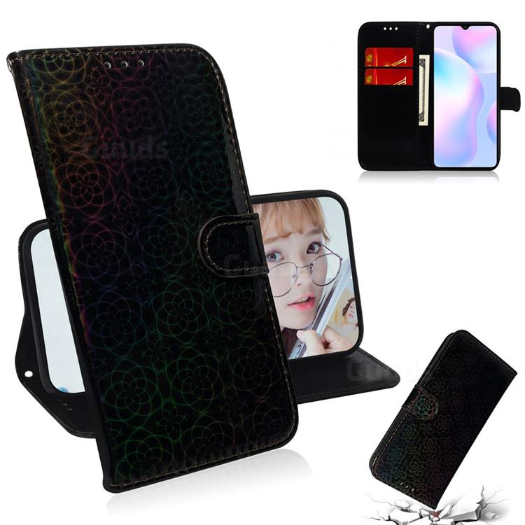 Laser Circle Shining Leather Wallet Phone Case for Xiaomi Redmi 9A - Black