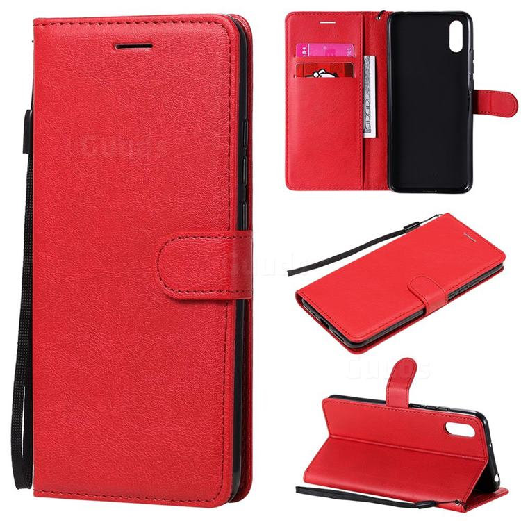 Retro Greek Classic Smooth PU Leather Wallet Phone Case for Xiaomi Redmi 9A - Red