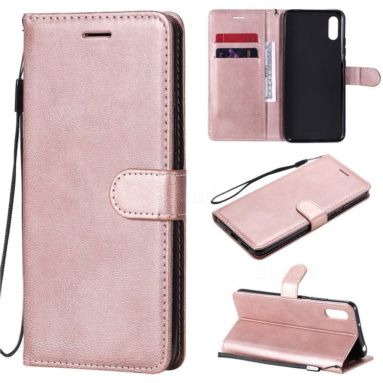 Retro Greek Classic Smooth PU Leather Wallet Phone Case for Xiaomi Redmi 9A - Rose Gold