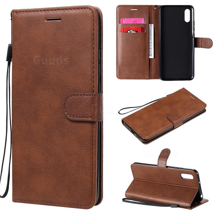 Retro Greek Classic Smooth PU Leather Wallet Phone Case for Xiaomi Redmi 9A - Brown