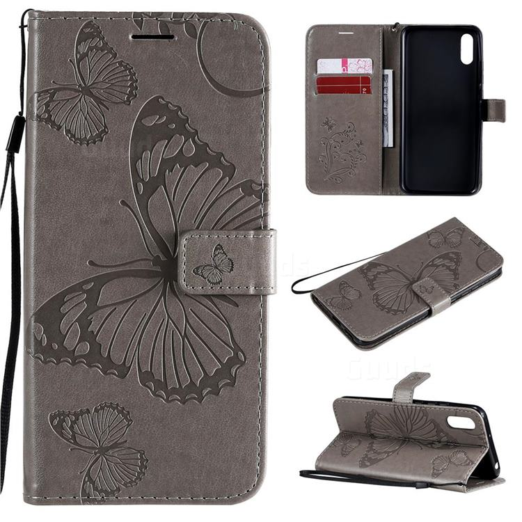 Embossing 3D Butterfly Leather Wallet Case for Xiaomi Redmi 9A - Gray