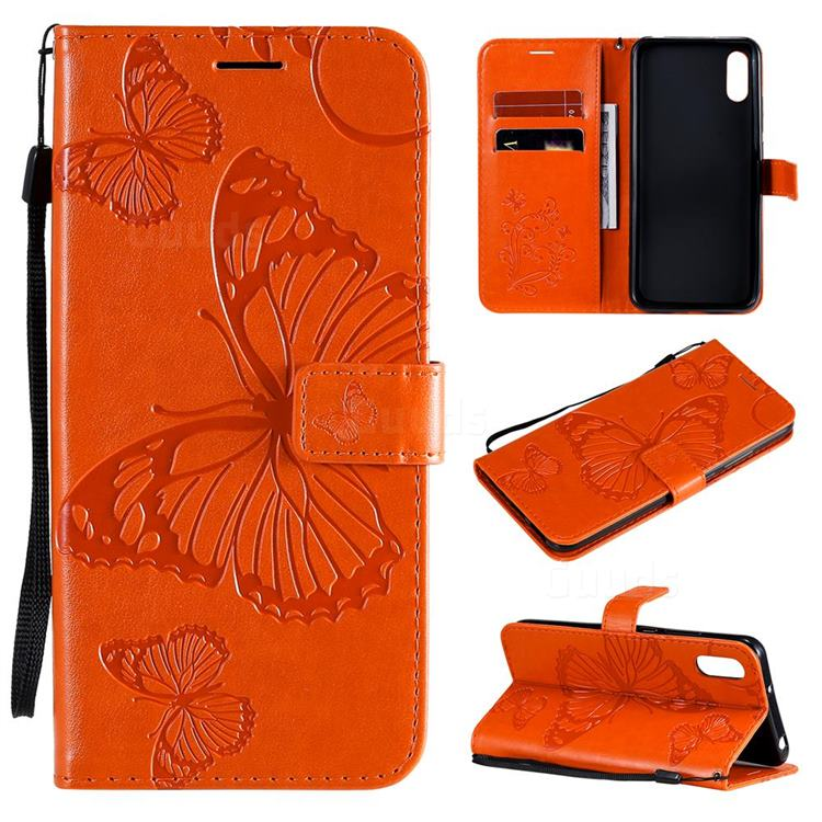 Embossing 3D Butterfly Leather Wallet Case for Xiaomi Redmi 9A - Orange