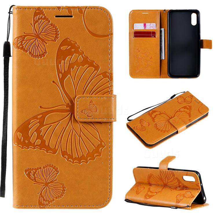 Embossing 3D Butterfly Leather Wallet Case for Xiaomi Redmi 9A - Yellow