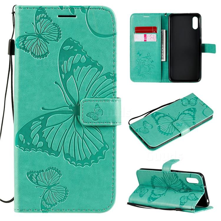 Embossing 3D Butterfly Leather Wallet Case for Xiaomi Redmi 9A - Green