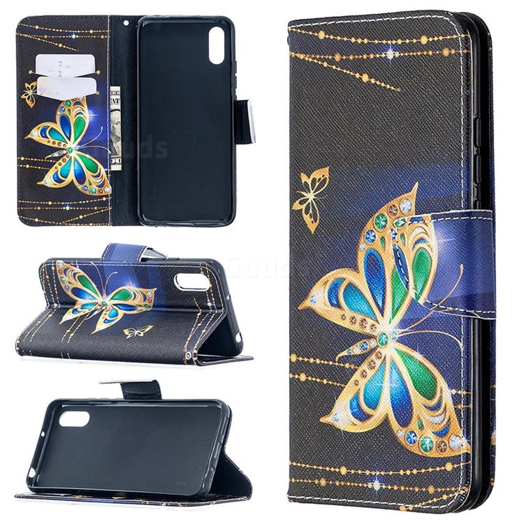 Golden Shining Butterfly Leather Wallet Case for Xiaomi Redmi 9A