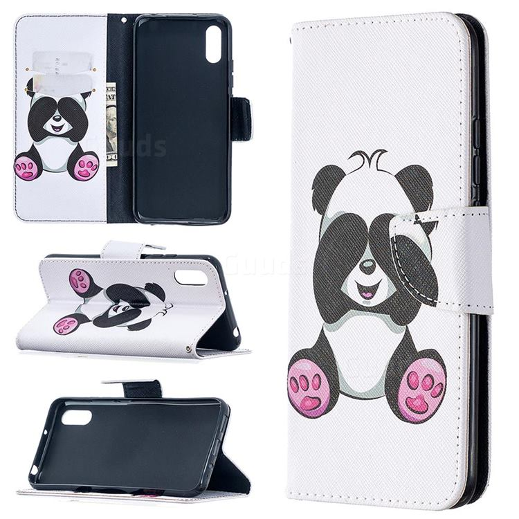 Lovely Panda Leather Wallet Case for Xiaomi Redmi 9A