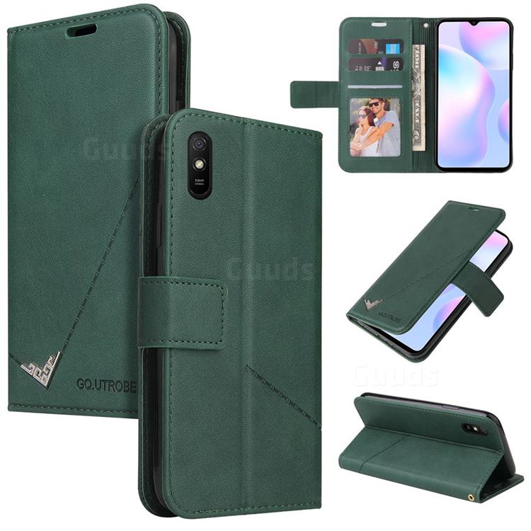 GQ.UTROBE Right Angle Silver Pendant Leather Wallet Phone Case for Xiaomi Redmi 9A - Green