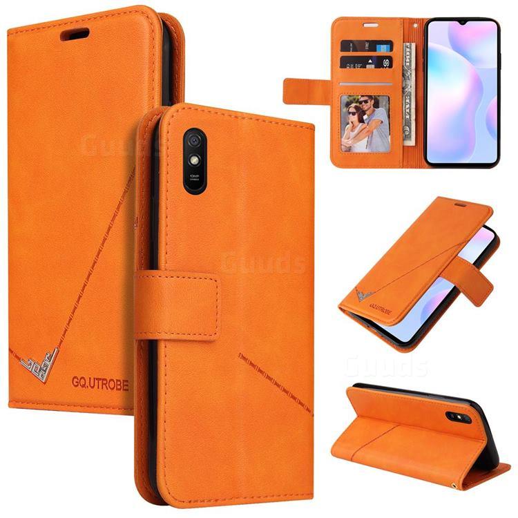GQ.UTROBE Right Angle Silver Pendant Leather Wallet Phone Case for Xiaomi Redmi 9A - Orange