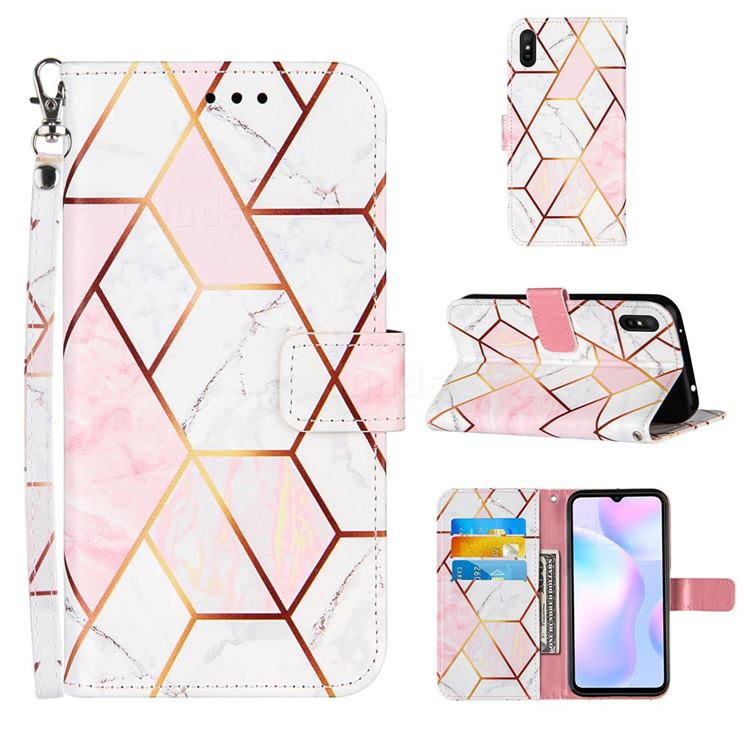 Pink White Stitching Color Marble Leather Wallet Case for Xiaomi Redmi 9A