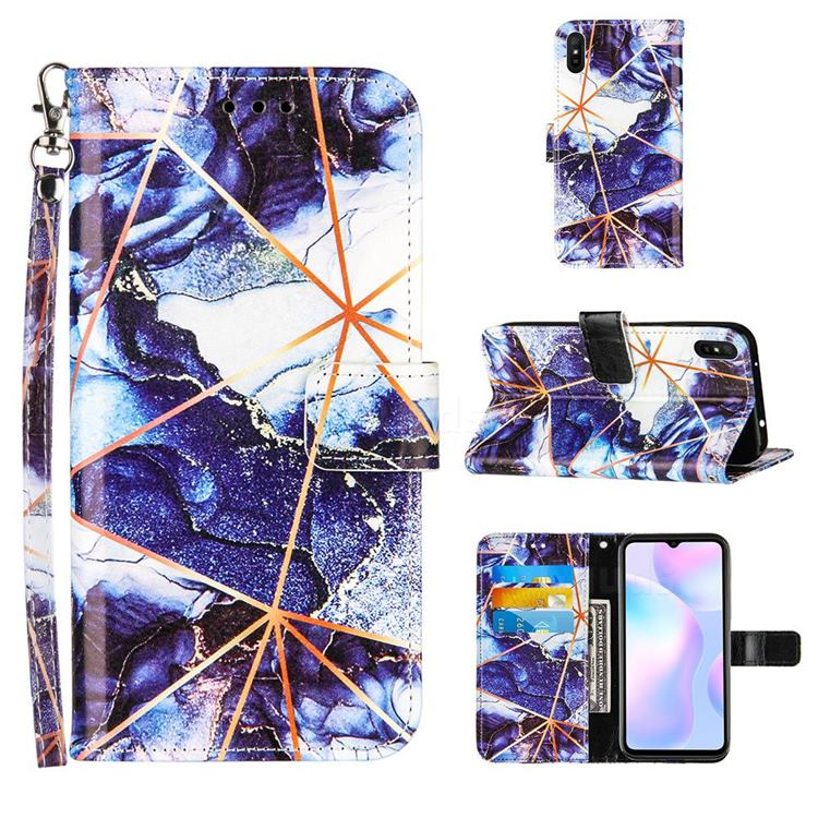 Starry Blue Stitching Color Marble Leather Wallet Case for Xiaomi Redmi 9A