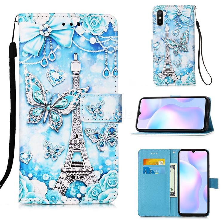Tower Butterfly Matte Leather Wallet Phone Case for Xiaomi Redmi 9A