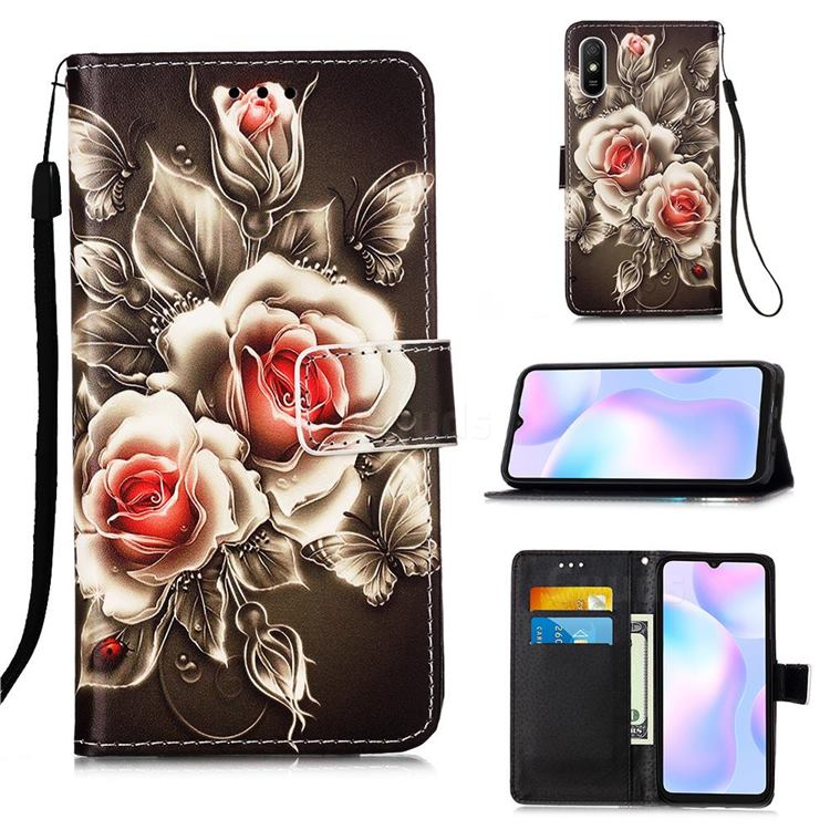 Black Rose Matte Leather Wallet Phone Case for Xiaomi Redmi 9A