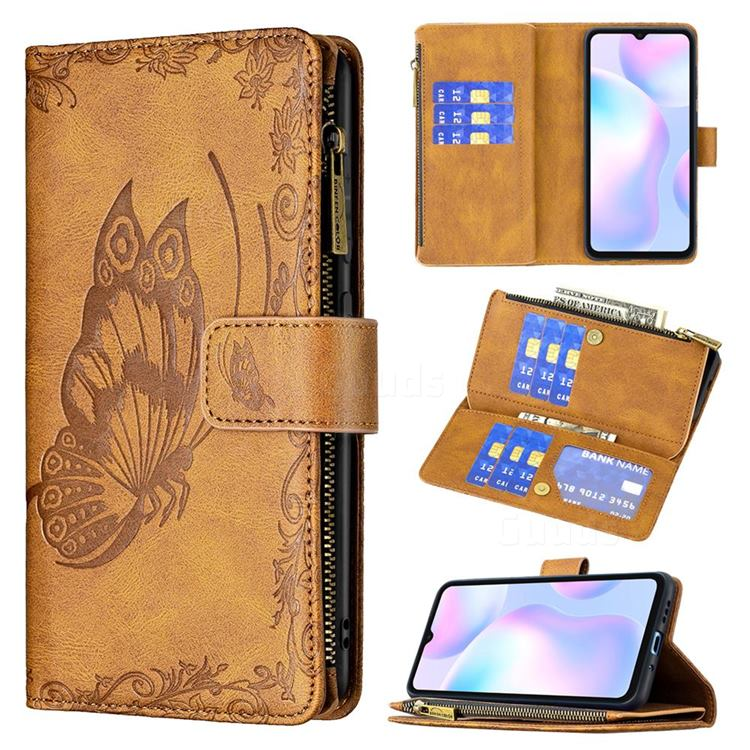 Binfen Color Imprint Vivid Butterfly Buckle Zipper Multi-function Leather Phone Wallet for Xiaomi Redmi 9A - Brown