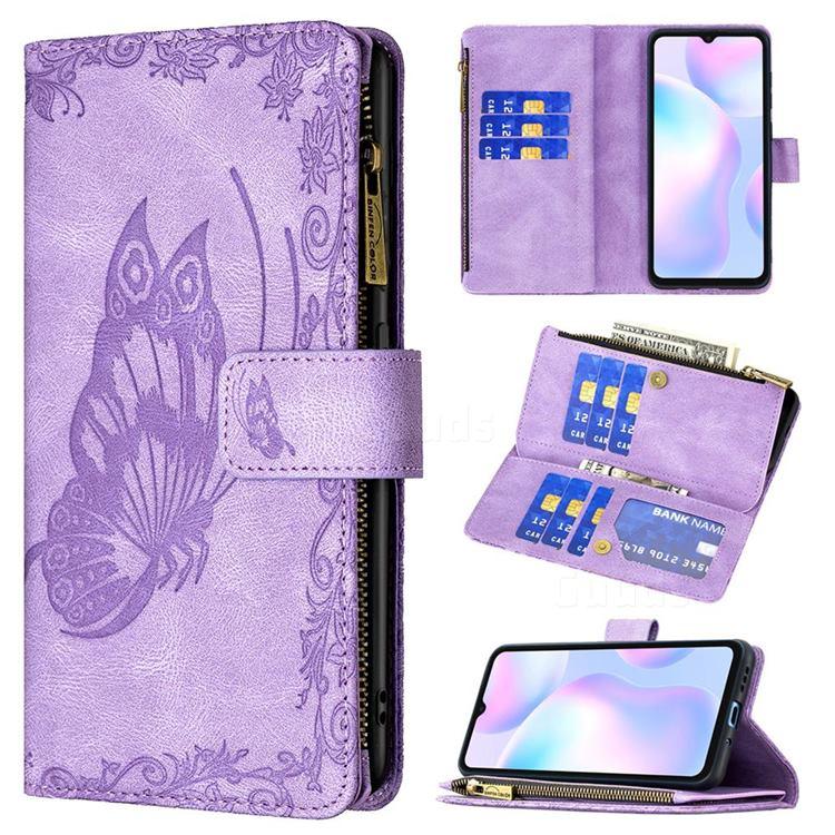 Binfen Color Imprint Vivid Butterfly Buckle Zipper Multi-function Leather Phone Wallet for Xiaomi Redmi 9A - Purple