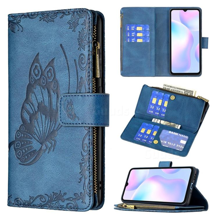 Binfen Color Imprint Vivid Butterfly Buckle Zipper Multi-function Leather Phone Wallet for Xiaomi Redmi 9A - Blue