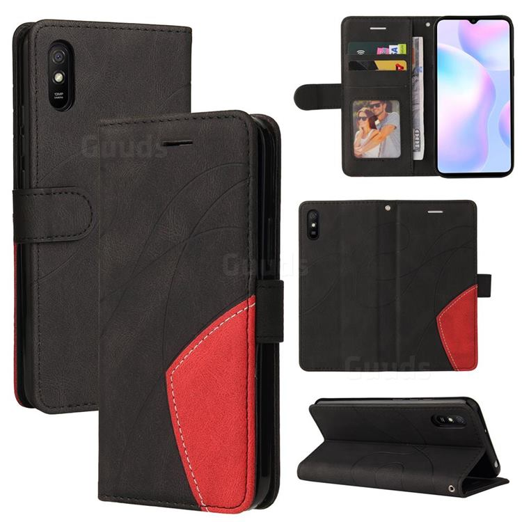 Luxury Two-color Stitching Leather Wallet Case Cover for Xiaomi Redmi 9A - Black