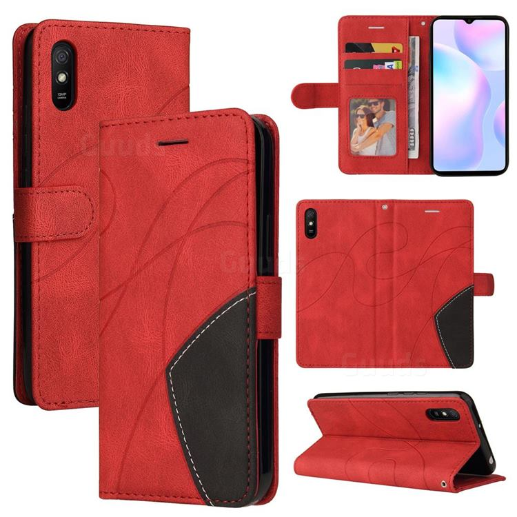 Luxury Two-color Stitching Leather Wallet Case Cover for Xiaomi Redmi 9A - Red