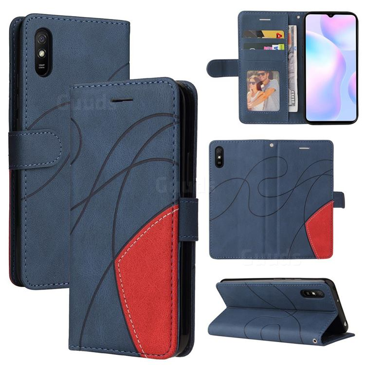 Luxury Two-color Stitching Leather Wallet Case Cover for Xiaomi Redmi 9A - Blue