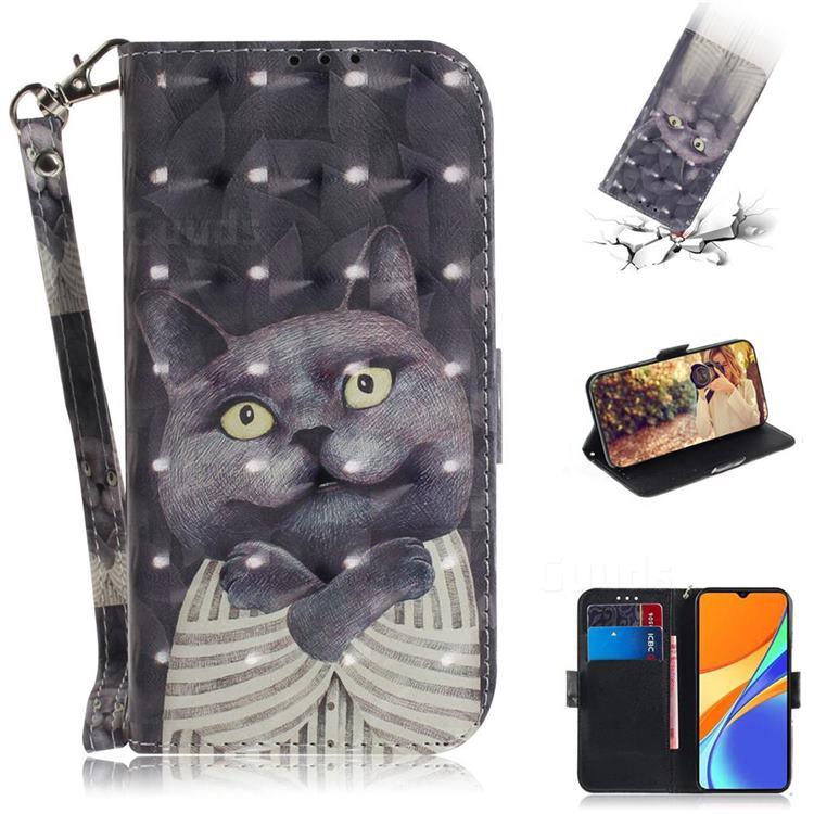 Cat Embrace 3D Painted Leather Wallet Phone Case for Xiaomi Redmi 9C