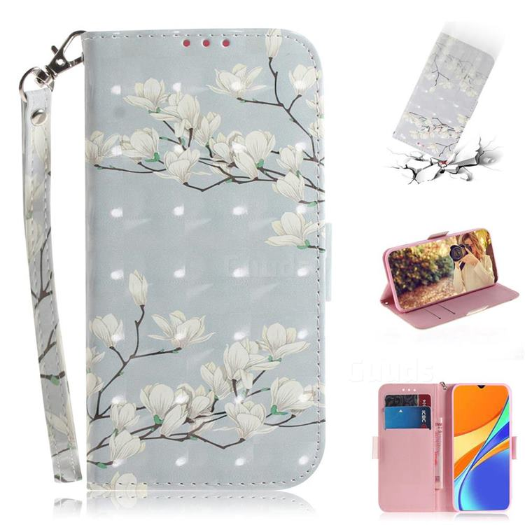 Magnolia Flower 3D Painted Leather Wallet Phone Case for Xiaomi Redmi 9C
