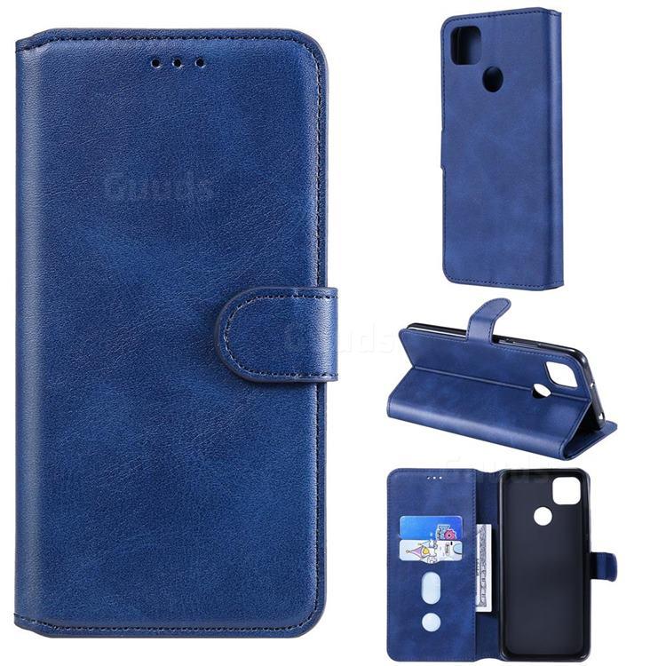 Retro Calf Matte Leather Wallet Phone Case for Xiaomi Redmi 9C - Blue