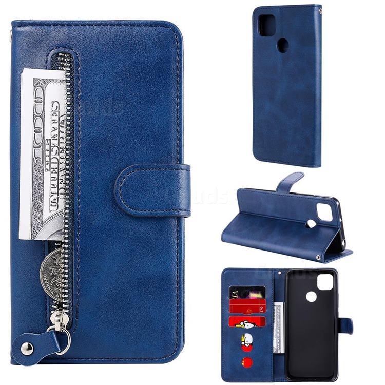 Retro Luxury Zipper Leather Phone Wallet Case for Xiaomi Redmi 9C - Blue