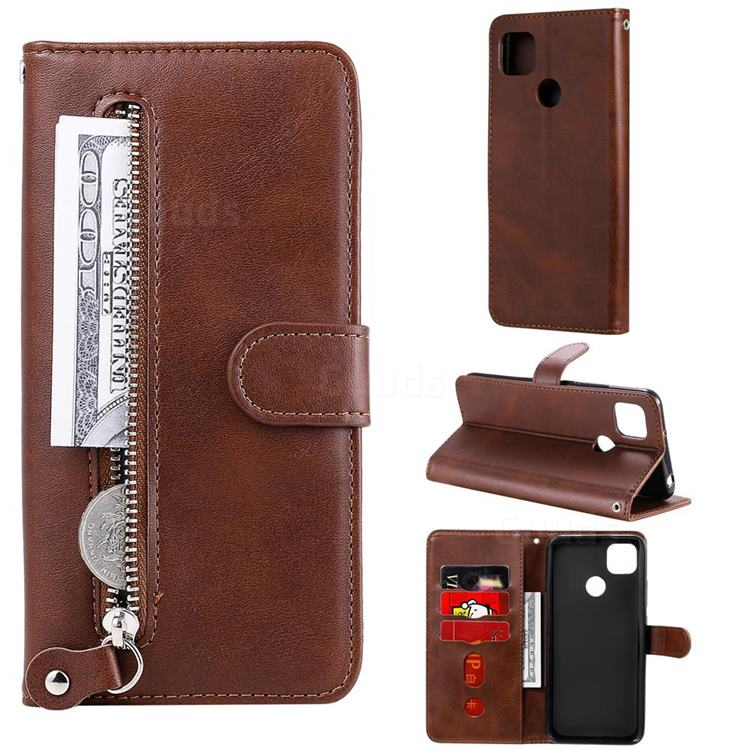 Retro Luxury Zipper Leather Phone Wallet Case for Xiaomi Redmi 9C - Brown