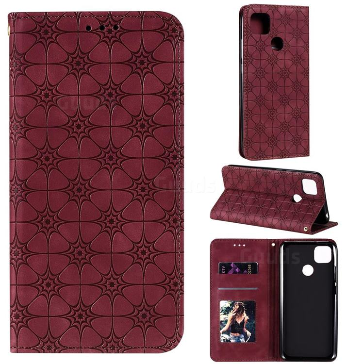 Intricate Embossing Four Leaf Clover Leather Wallet Case for Xiaomi Redmi 9C - Claret