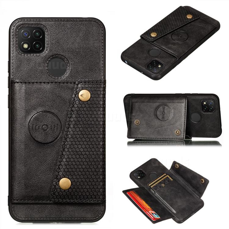 Retro Multifunction Card Slots Stand Leather Coated Phone Back Cover for Xiaomi Redmi 9C - Black