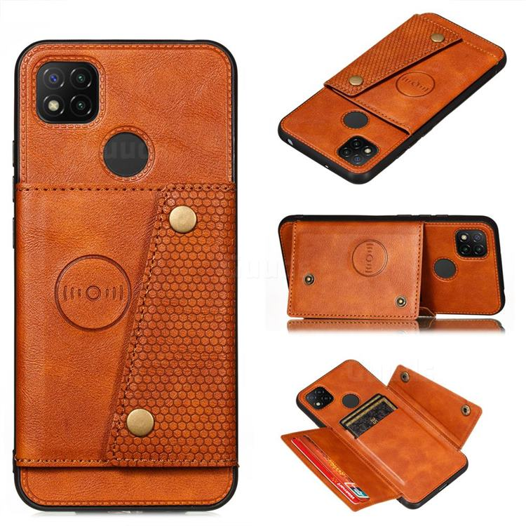 Retro Multifunction Card Slots Stand Leather Coated Phone Back Cover for Xiaomi Redmi 9C - Brown