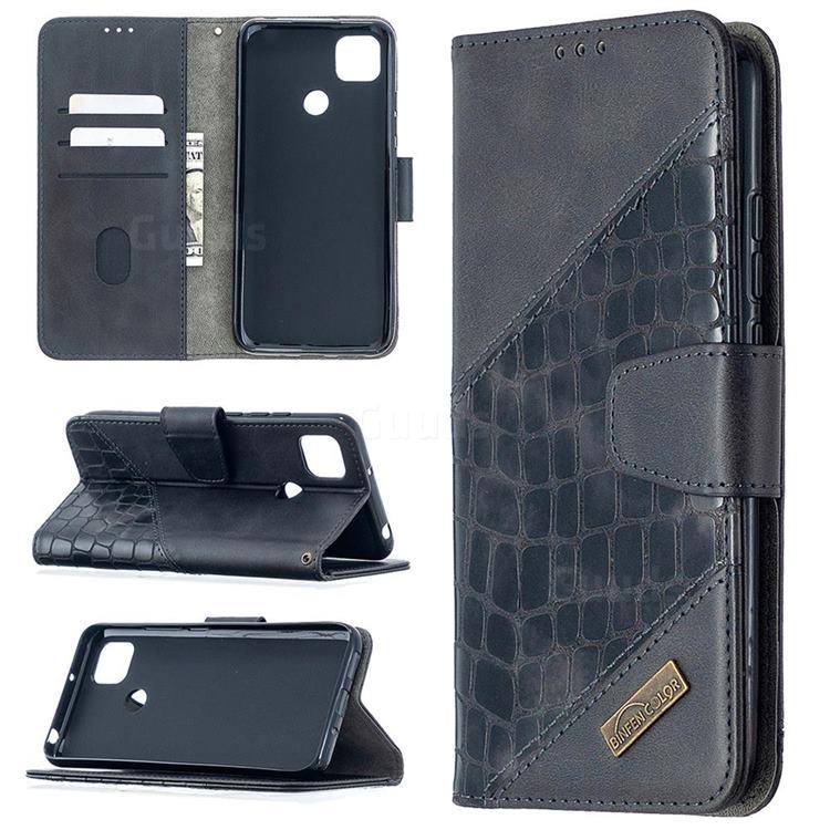 BinfenColor BF04 Color Block Stitching Crocodile Leather Case Cover for Xiaomi Redmi 9C - Black