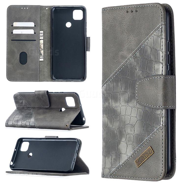 BinfenColor BF04 Color Block Stitching Crocodile Leather Case Cover for Xiaomi Redmi 9C - Gray