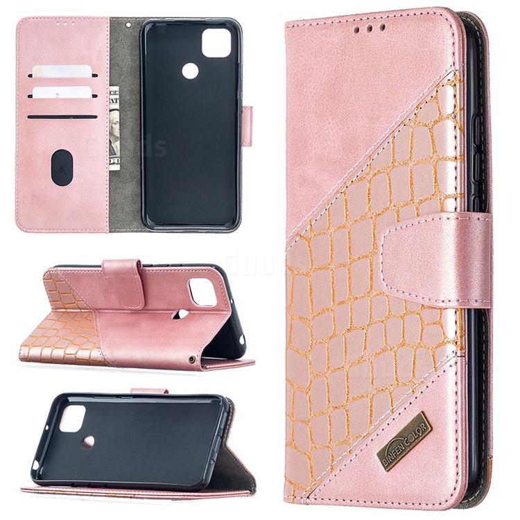 BinfenColor BF04 Color Block Stitching Crocodile Leather Case Cover for Xiaomi Redmi 9C - Rose Gold