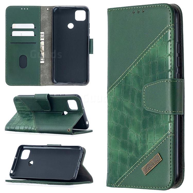 BinfenColor BF04 Color Block Stitching Crocodile Leather Case Cover for Xiaomi Redmi 9C - Green