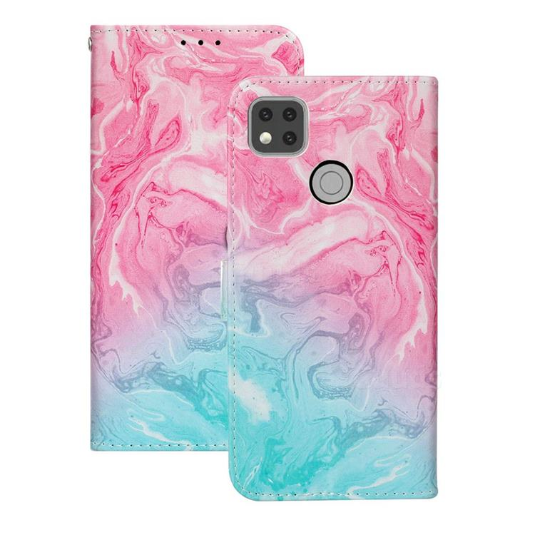 Pink Green Marble PU Leather Wallet Case for Xiaomi Redmi 9C