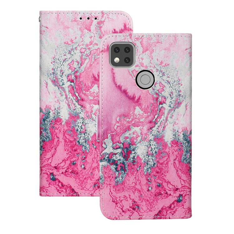 Pink Seawater PU Leather Wallet Case for Xiaomi Redmi 9C