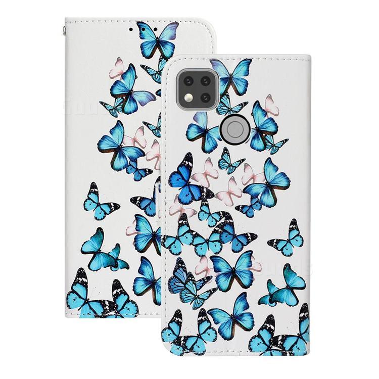 Blue Vivid Butterflies PU Leather Wallet Case for Xiaomi Redmi 9C