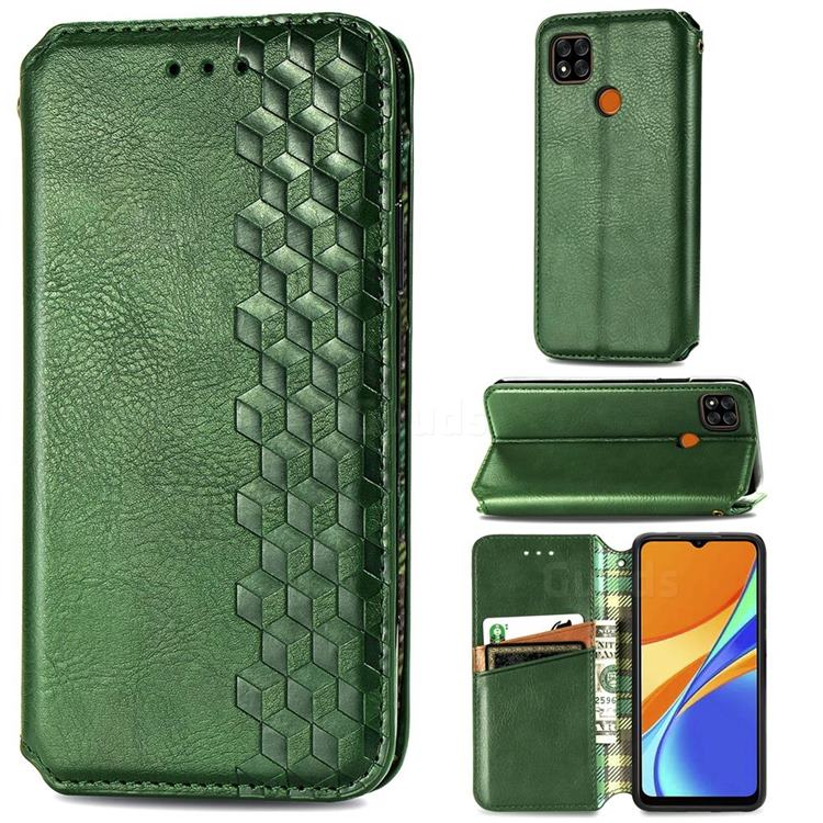 Ultra Slim Fashion Business Card Magnetic Automatic Suction Leather Flip Cover for Xiaomi Redmi 9C - Green
