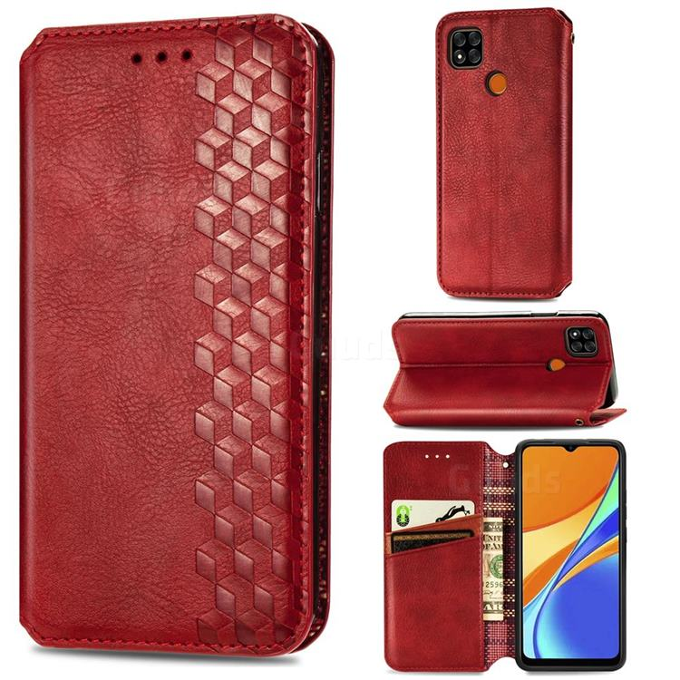 Ultra Slim Fashion Business Card Magnetic Automatic Suction Leather Flip Cover for Xiaomi Redmi 9C - Red
