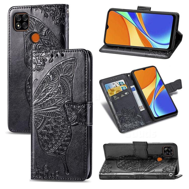 Embossing Mandala Flower Butterfly Leather Wallet Case for Xiaomi Redmi 9C - Black
