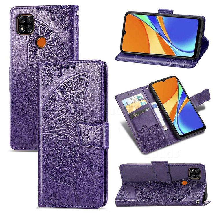 Embossing Mandala Flower Butterfly Leather Wallet Case for Xiaomi Redmi 9C - Dark Purple